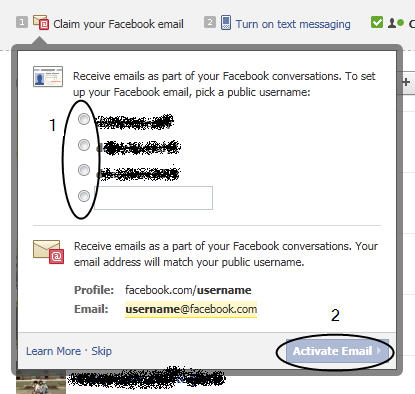 choose your email in facebook